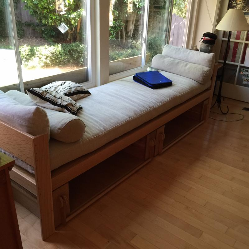 Day Bed w/sliding Bookcases-White Quarter Sawn Oak